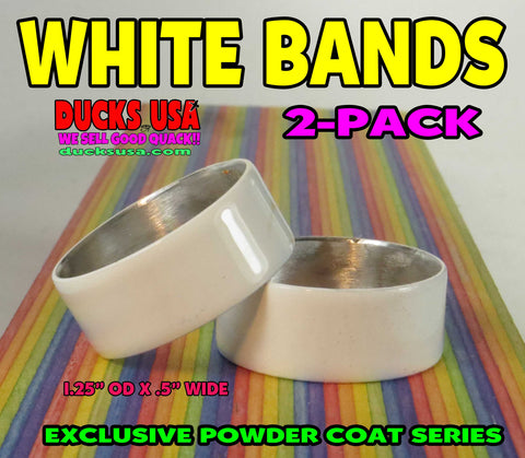 "BANDS - POWDER COAT SERIES White Bands 2-PACK 1.25"" OD X .5"" Wide"