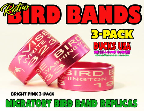 BANDS - ANODIZED PINK Bird Band Replicas Laser Engraved FULL WRAP 3-Pack