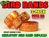 BANDS -  ANODIZED ORANGE BIRD BAND REPLICAS LASER ENGRAVED FULL WRAP 3-PACK