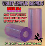ACRYLIC BARREL - TRANSPARENT  VIOLET Barrel Blank with PERFECT BORE TECHNOLOGY