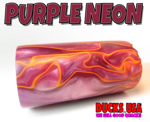 "ACRYLIC BARREL - PURPLE NEON Exotic Swirl 2.7"" x 1.4"" OD & 5/8"" Bore"
