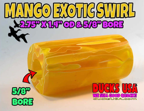 "ACRYLIC BARREL - MANGO Exotic Swirl 2.7"" x 1.4"" OD & 5/8"" Bore - 1 BARREL"