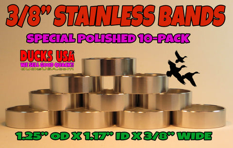 "BANDS - 3/8"" WIDE STAINLESS STEEL POLISHED HEFTY 10-PACK  - 1.25"" OD"