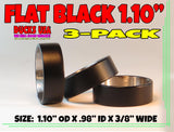 "BANDS - 1.10"" STAINLESS FLAT BLACK POWDER COATED 3-PACK SOLD OUT"