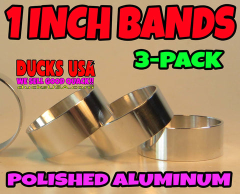 "BANDS - 1"" ALUMINUM  POLISHED 1.0"" OD X .98"" ID X 3/8"" WIDE  3-PACK"