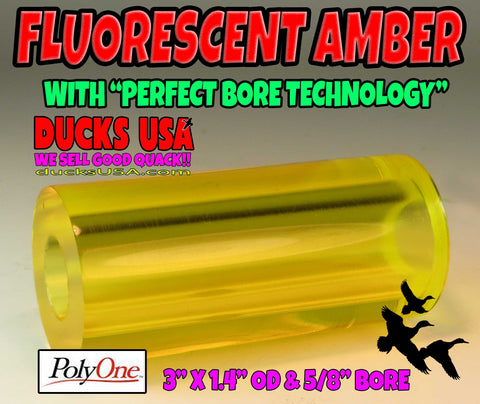 ACRYLIC BARREL - TRANSPARENT FLUORESCENT AMBER Barrel Blank PERFECT BORE TECH