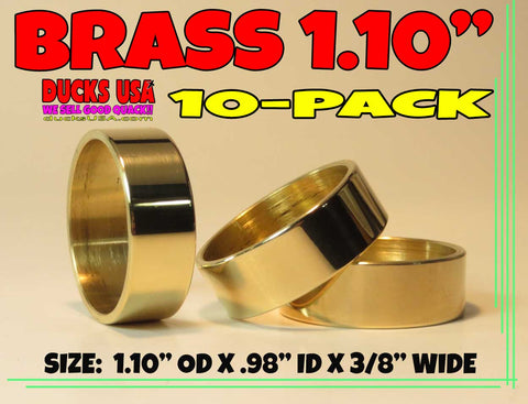 "BANDS - BRASS 1.10"" POLISHED 1.10"" OD X .98"" ID X 3/8"" WIDE SPECIAL 10-PACK"