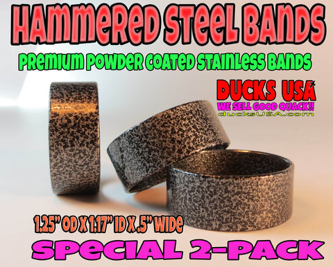 "BANDS - POWDER COAT SERIES HAMMERED STEEL 1.25"" OD X .5"" WIDE STYLE 2-PACK"