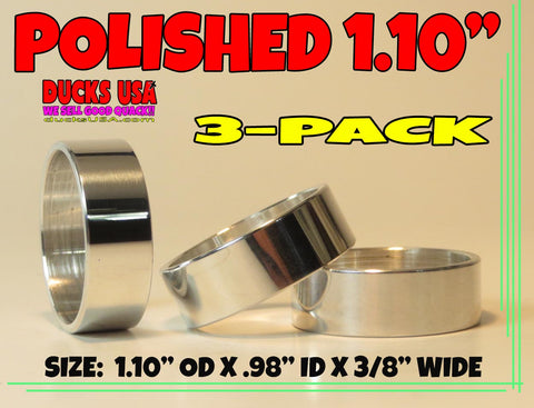 "BANDS - 1.10"" ALUMINUM POLISHED 1.10"" OD X .98"" ID X 3/8"" WIDE  3-PACK"