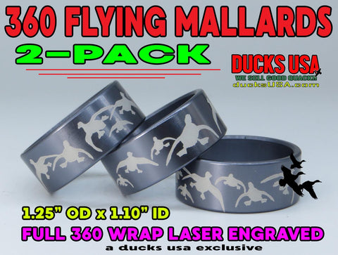 BANDS - 360 FLYING MALLARDS Gun Metal Gray Laser Engraved 2-PACK