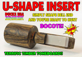 "INSERT - U-SHAPE & U-PICK WOOD STYLE  1"" OD Bell End that U-Shape ABW, COCOBOLO, HEDGE"