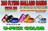 "BANDS - 360 FLYING MALLARDS Anodized Series U-PICK COLOR 1.25"" OD X 1.10"" ID X .5"" Wide"