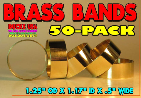 "BANDS - BRASS 1.25"" OD x 1.17"" ID x 1/2"" Wide HIGHLY POLISHED MEGA 50-PACK"
