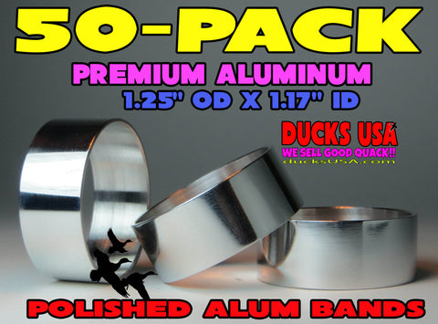 "BANDS - ALUMINUM POLISHED 1.25"" X 1.17"" X .5"" MEGA READY TO INSTALL 50-PACK"