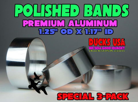 "BANDS - POLISHED OR GUN METAL GRAY ALUMINUM BANDS - 1.25"" OD X 1.17"" ID X  1/2"" WIDE 3-PACK"