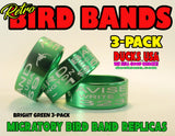 BANDS - ANODIZED BRIGHT GREEN Bird Band Replicas 3-Pack
