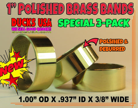 "BANDS - BRASS POLISHED 1.0"" OD Bands Special 3-PACK 1.0"" OD x .93"" ID x 3/8"" Wide"