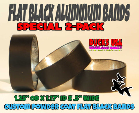 "BANDS - POWDER COAT SERIES Flat Black Alum Bands  2-PACK 1.25"" OD X 1.17"" ID X .5"" Wide"