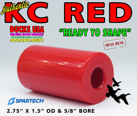 "ACRYLIC BARREL - KC RED Authentic Original by Spartech Barrel Blank 2.7"" x 1.5"" OD & 5/8"""