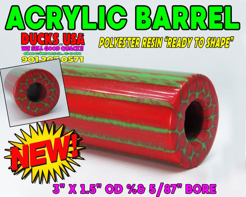 ACRYLIC BARREL - POLYESTER RESIN SERIES RED & GREEN DRAGON 1-BARREL