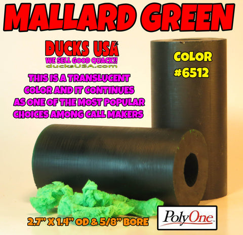 "ACRYLIC BARREL -  GREEN TRANSLUCENT (MALLARD GREEN) #6512  2.7"" x 1.4"" OD & 5/8"" Bore"