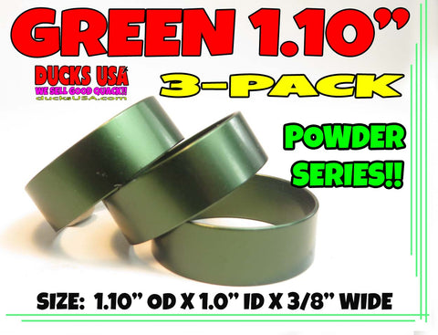 "BANDS - 3/8"" WIDE ANODIZED GREEN 1.10"" OD X 1.0"" ID X 3/8"" WIDE SPECIAL 3-PACK"