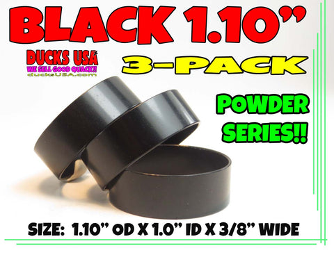 "BANDS - 3/8"" WIDE ANODIZED BLACK 1.10"" OD X 3/8"" WIDE SPECIAL 3-PACK"