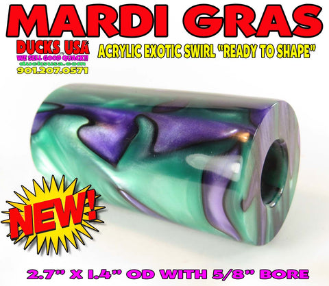 """DUCK CALL ACRYLIC Exotic Swirl Barrel Blanks 3-Pack /""""Ready to Shape/"""" Awesome!!"""