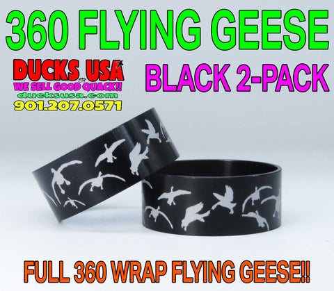 "BANDS - 360 FLYING GEESE BLACK Laser Engraved 2-PACK 1.25"" OD X 1.17"" ID X .5"" WIDE"