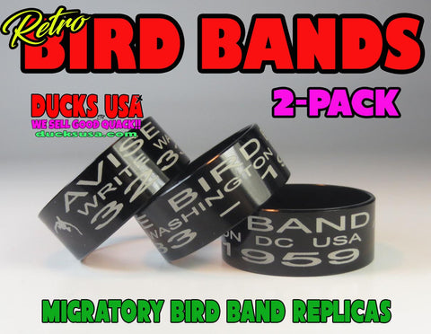 BANDS -  BIRD BAND REPLICAS BLACK ALUMINUM Full 360 Laser Engraved 2-Pack