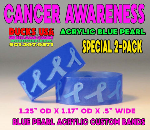 "BANDS - CANCER AWARENESSS Blue Pearl Acrylic Bands 1.25"" OD A Ducks USA Exclusive 2-PACK"