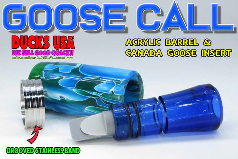 GOOSE CALL KIT - SEA FOAM EXOTIC SWIRL w/ BLUE CANADA INSERT and Grooved Stainless Band