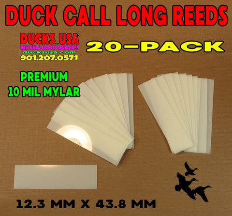 REED KIT - 20 Pack Duck Call Reeds 10 Mil Mylar RARE Cream Mylar Long Reeds
