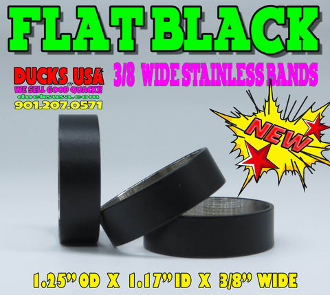 "BANDS - FLAT BLACK POWDER COATED SERIES 1.25"" OD X 1.17"" ID X 3/8"" WIDE Special 3-Pack"