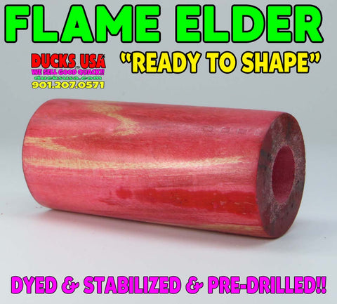 "WOOD - FLAME BOX ELDER Stabilized Barrel Blank Pre-Drilled and""Ready to Shape"""