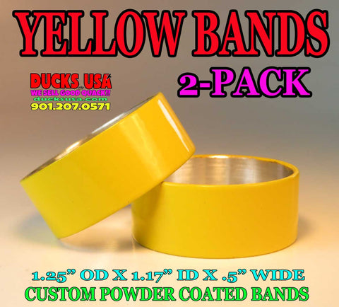"BANDS - POWDER COAT SERIES Cat Yellow 2-PACK 1.25"" OD x 1.17"" ID x .5"" Wide"