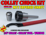"COLLET CHUCK - COLLET CHUCK KIT  5/8"" w/ MT1 TAPERED SHAFT  & BONUS COLLET TOOL"