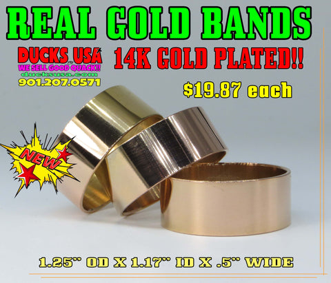 "BANDS - GOLD 14K PLATED BANDS 1.25"" OD X .5"" WIDE LISTING FOR ONE BAND"