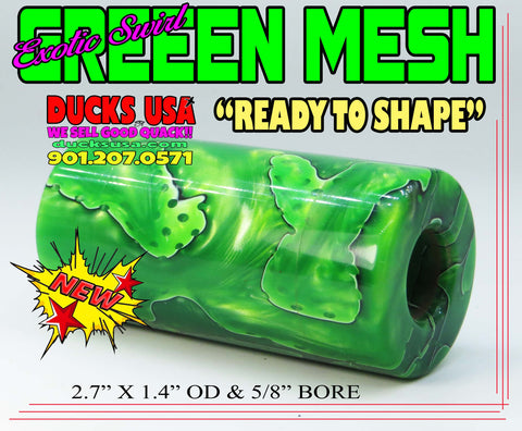 "ACRYLIC BARREL - GREEN MESH Exotic Swirl 2.7"" x 1.4"" OD & 5/8"" Bore - 1 Barrel"