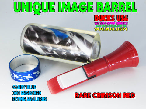 DUCK CALL KIT - IMAGE BARREL ACRYLIC Unique Barrel Design RARE RED ECHO & 360 BAND