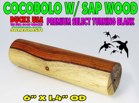 "WOOD - COCOBOLO Exotic Wood Turning Blank w/ Heavy SAP WOOD RARE 6"" x 1.4"" OD #1858"