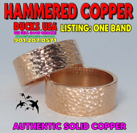 BANDS - HAMMERED COPPER AUTHENTIC MADE BY HAND SOLID COPPER 1-BAND