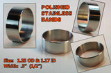 "BANDS - STAINLESS STEEL POLISHED BANDS - 1.25"" OD X 1.17"" ID X 1/2"" WIDE 10-PACK"