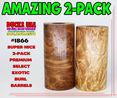 "WOOD - BURL EXOTIC AMAZING 2-PACK Stabilized & Highly Figured 2.7"" x 1.5"" OD & 5/8"" Bore #1866"