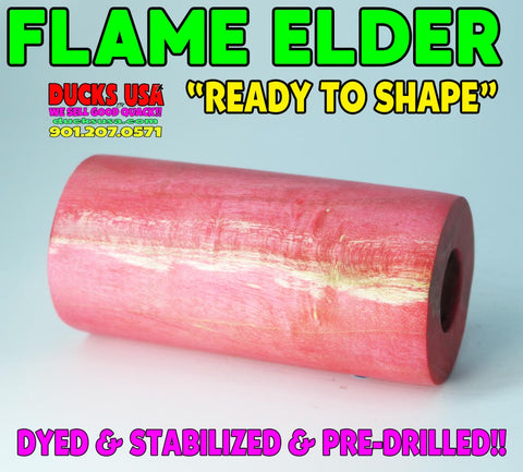 "WOOD - FLAME BOX ELDER Stabilized Barrel Blank Pre-Drilled and""Ready to Shape"" #1889"