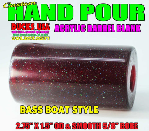 ACRYLIC - CUSTOM HAND-POUR ACRYLIC BARREL BLANK BASS BOAT RED STYLE