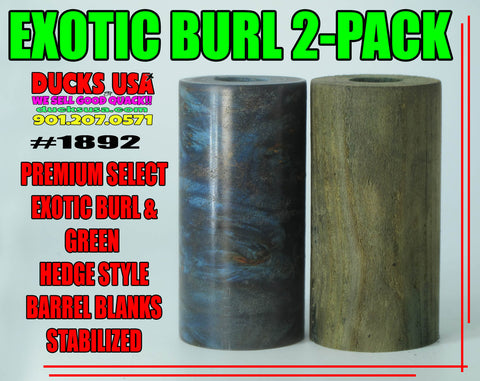 "WOOD - BURL EXOTIC WOOD 2-PACK Premium Select ""READY TO SHAPE!"" #1892"