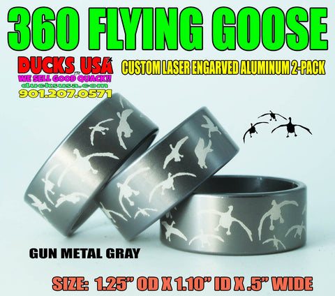 "BANDS - 360 FLYING GEESE GUN METAL GRAY 3-PACK Full Wrap Laser Engraved 1.25"" OD x 1/2"" WIDE"