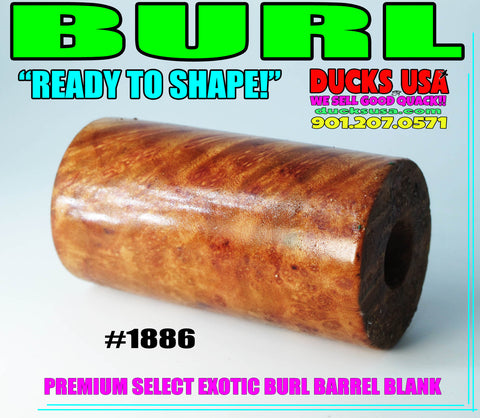 "WOOD - BURL EXOTIC WOOD Stabilized Barrel Blank 2.7"" x 1.4"" OD & 5/8"" Bore #1886"
