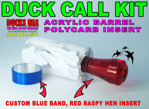 DUCK CALL KIT - EXOTIC SWIRL WHITE RIBBON WITH RED RASPY INSERT & CANDY BLUE BAND